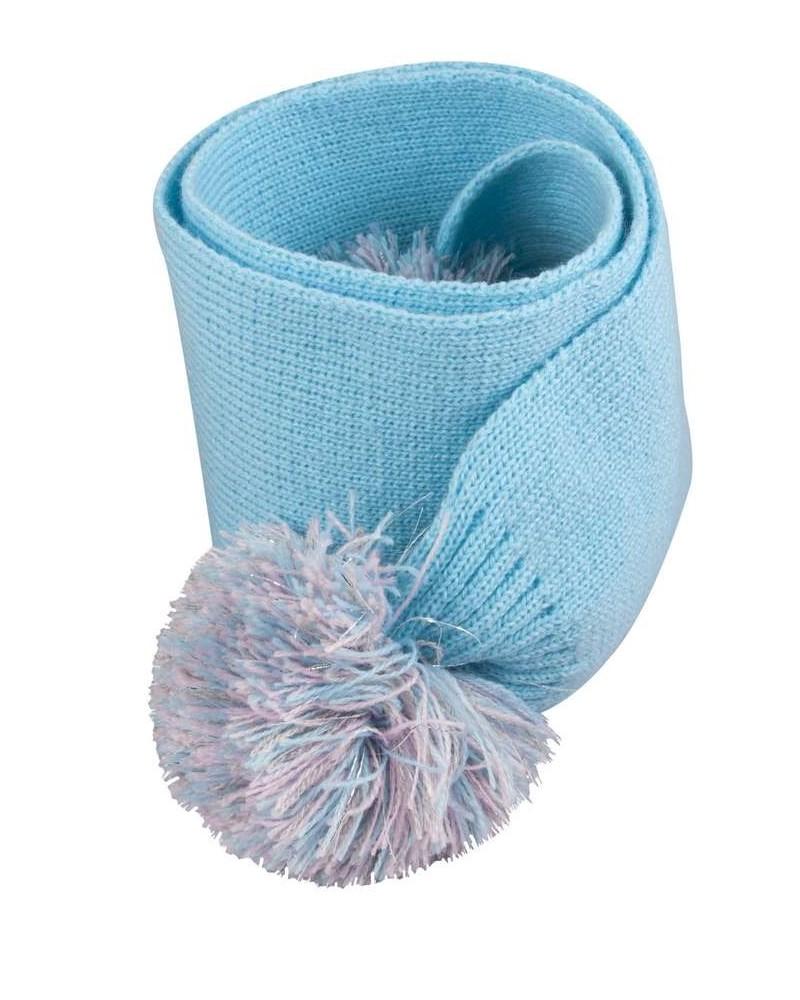 Szalik błękitny gładki z pomponem