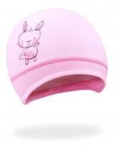 Czapka z królikiem różowa