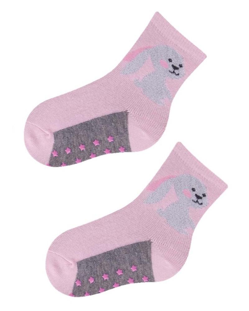 Skarpety antypoślizgowe różowe z królikiem (z ABS)