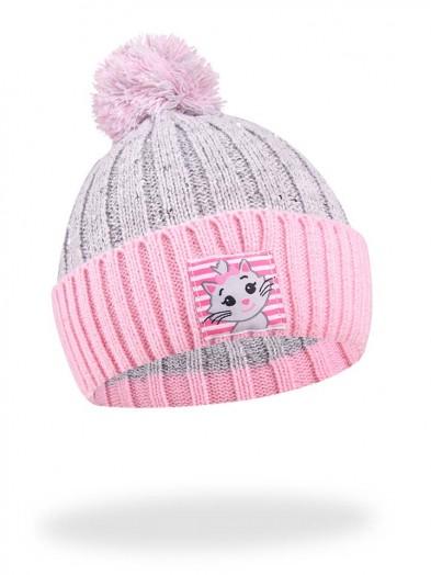 Czapka zimowa z kotkiem szaro-różowa