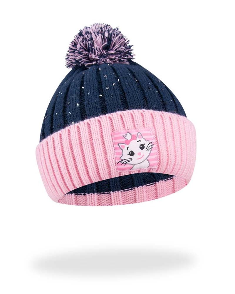 Czapka zimowa z kotkiem granatowo-różowa