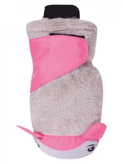 Rękawiczki narciarskie z futerkiem jasno-różowa buźka