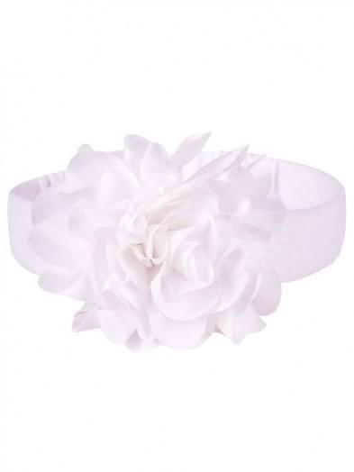 Opaska z kwiatkiem biała