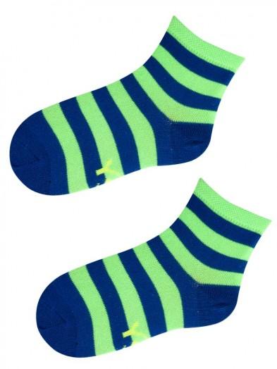 Skarpety w neonowo zielone i niebieskie paski