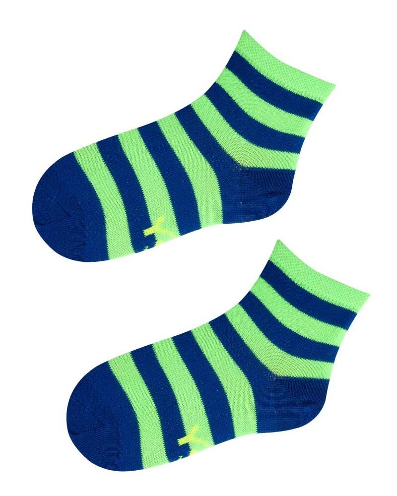 Skarpety w neonowo zielone i niebieskie paski r. 28-30