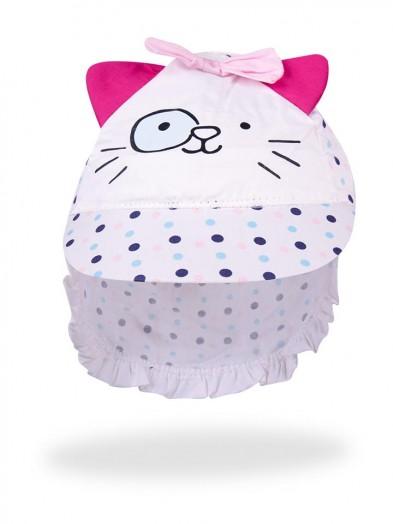 Czapka letnia biała Pink Cat