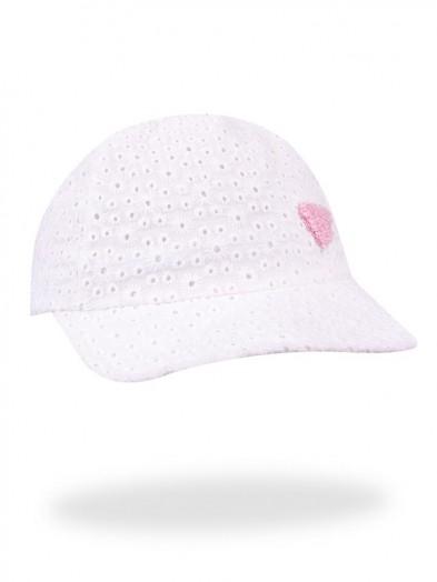 Czapka letnia biała z różowym serduszkiem Kari