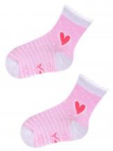 Skarpety  antypoślizgowe różowe w paski i z sercem(z ABS)