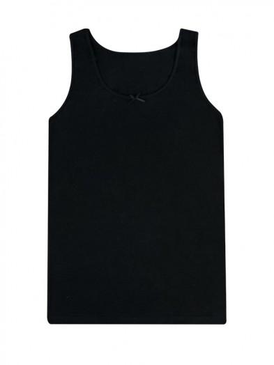 Podkoszulka bawełniania czarna z grubymi ramiączkami damska