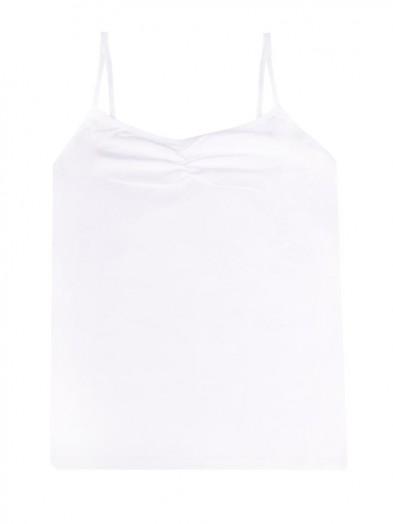 Podkoszulka bawełniania biała z cienkimi ramiączkami damska