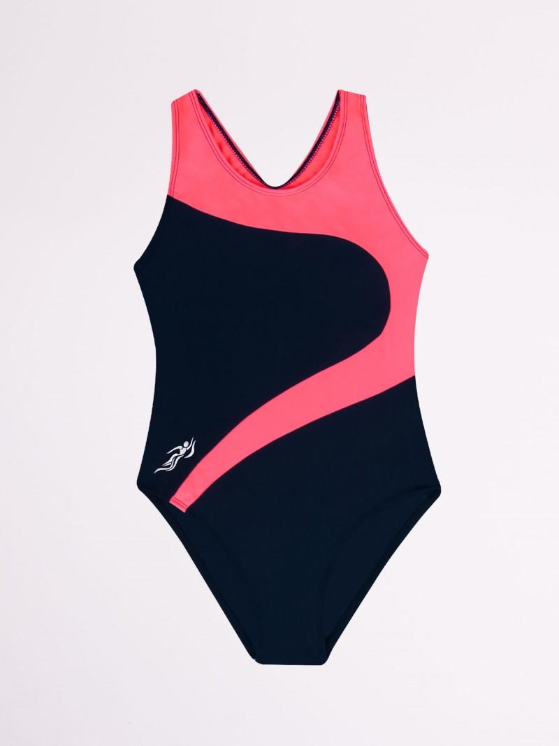 Kostium kąpielowy jednoczęściowy czarno-różowy