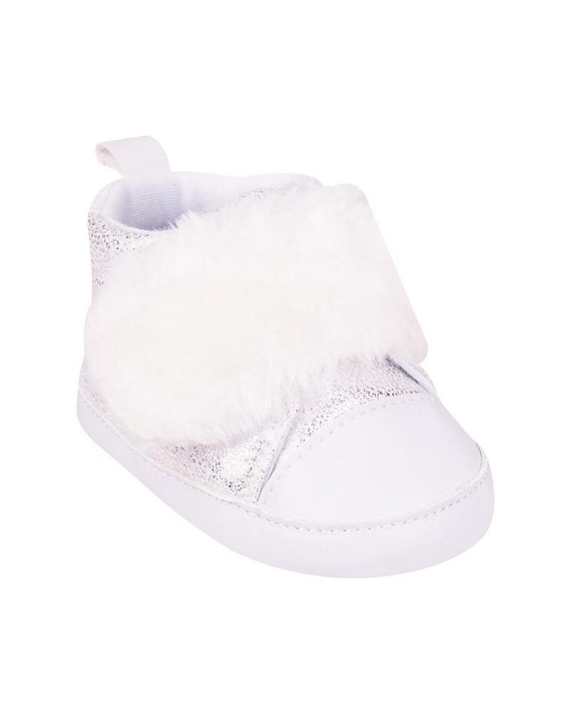 Buciki białe z futrzanymzepem