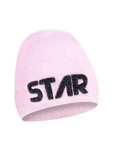 Czapka zimowa różowa z napisem STAR