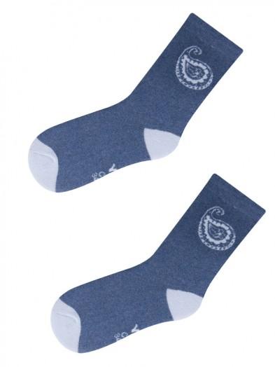 Skarpety frotte niebieskie z błękitnym paisley r. 27-30