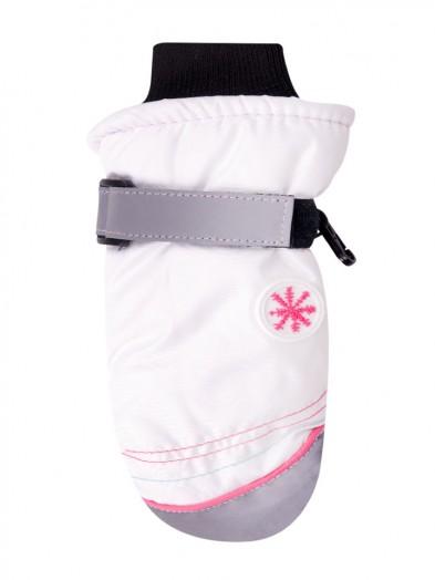 Rękawiczki narciarskie białe naszywka śnieżynki
