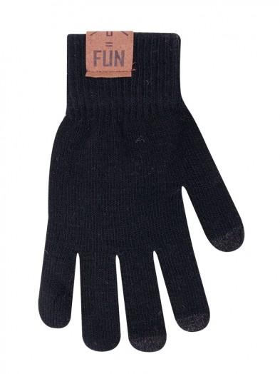 Rękawiczki męskie czarne do ekranów dotykowych z naszywką