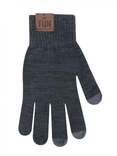 Rękawiczki męskie szare do ekranów dotykowych z naszywką