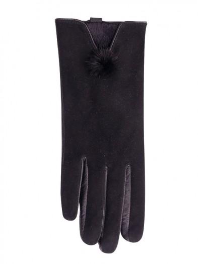 Rękawiczki skórzane zamszowe z puszkiem
