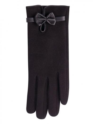 Rękawiczki czarne do ekranów dotykowych skórzana kokardka