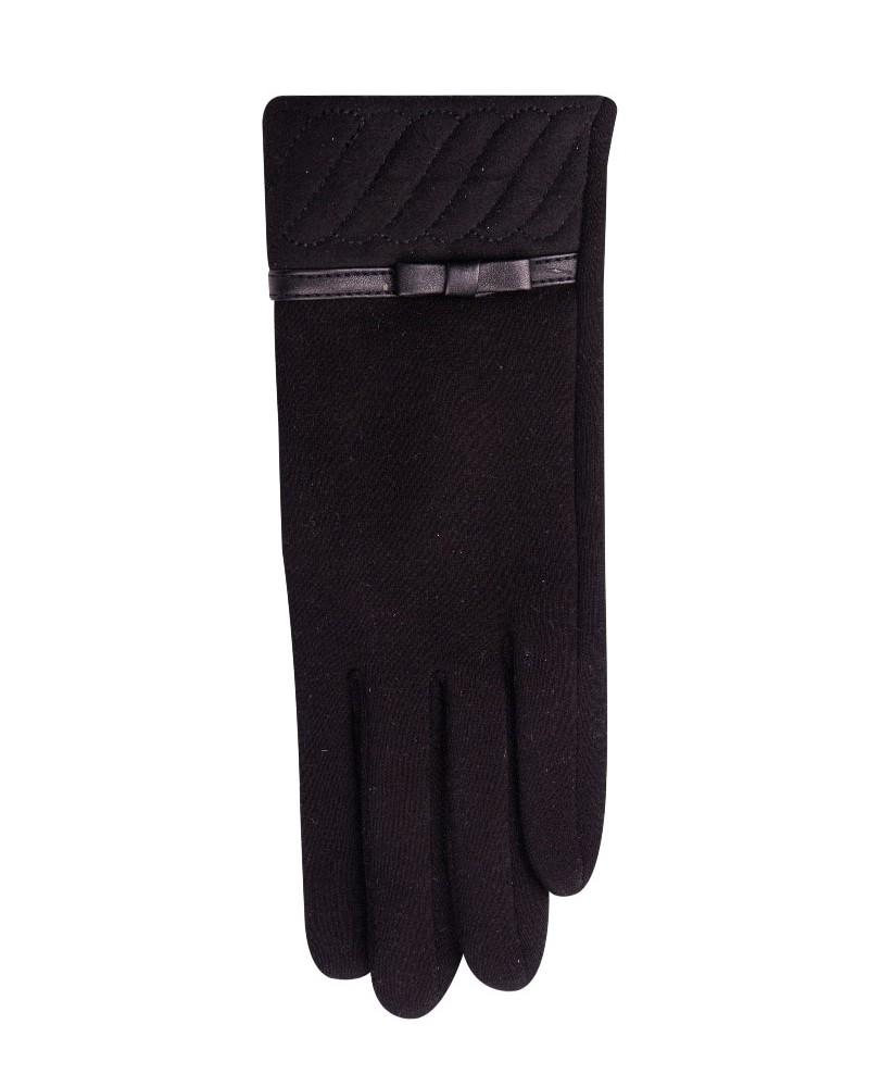 Rękawiczki czarne zamszowy mankiet z kokardką