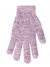 Rękawiczki różowe z kolorową nitką ocieplane do ekranów dotykowych