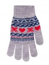 Rękawiczki szare zimowe wzory