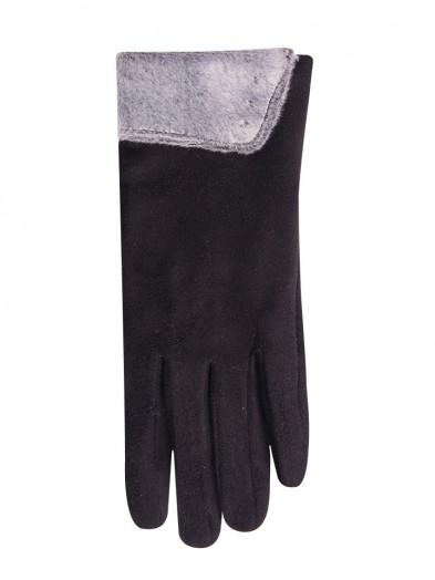 Rękawiczki czarne futerkowy mankiet
