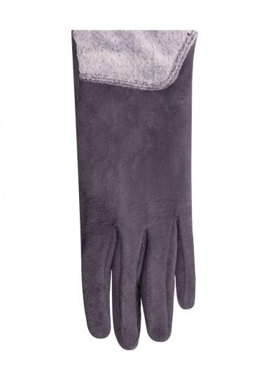 Rękawiczki szare futerkowy mankiet