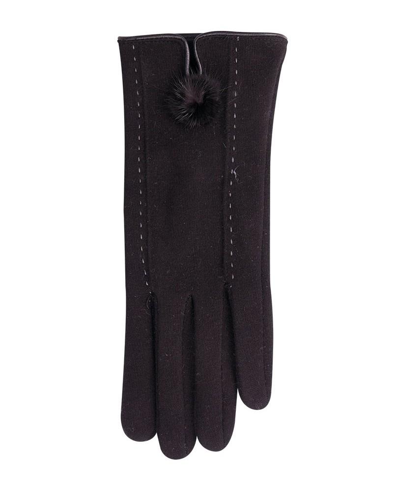 Rękawiczki czarne z przeszyciami i puszkiem