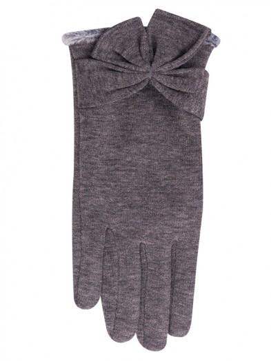 Rękawiczki szare kokarda duża na mankiecie