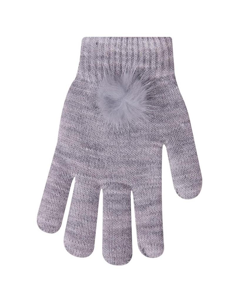 Rękawiczki szare pomponem na mankiecie