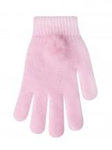 Rękawiczki różowe z pomponem na mankiecie