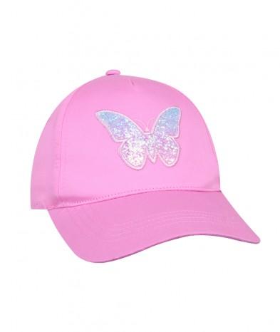Czapka z daszkiem Motylek różowa dziewczęca