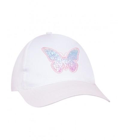 Czapka z daszkiem Motylek biała dziewczęca