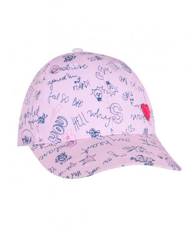 Czapka z daszkiem w Napisy różowa dziewczęca