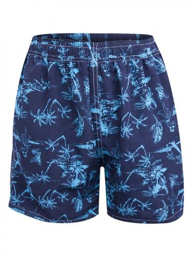 Szorty plażowe męskie granatowe w niebieskie palmy