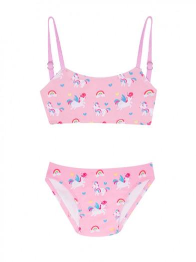 Kostium kąpielowy dwuczęściowy dziewczęcy różowy w jednorożce