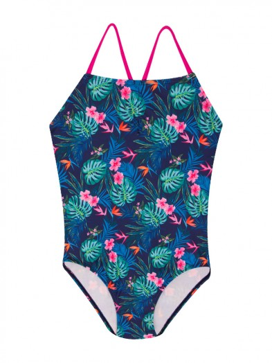 Kostium kąpielowy jednoczęściowy dziewczęcy granatowy tropikalny wzór