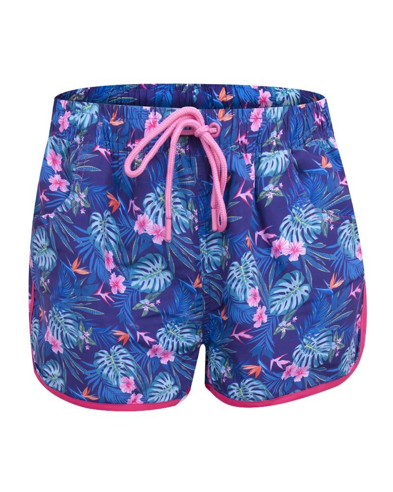 Szorty plażowe damskie granatowe tropikalny wzór