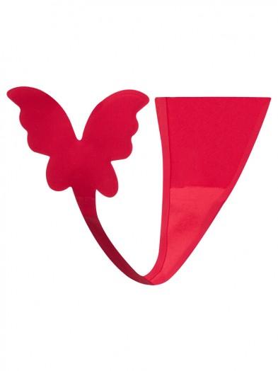 Majtki damskie samoprzylepne czerwone z motylem