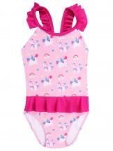 Kostium kąpielowy jednoczęściowy dziewczęcy różowy w jednorożce