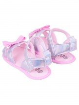 Sandałki dziewczęce błyszczące z kokardką szare