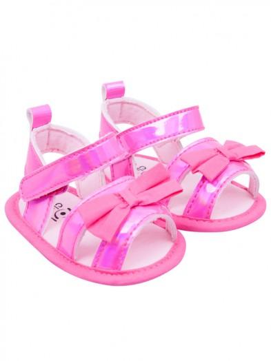 Sandałki dziewczęce błyszczące z kokardką różowe