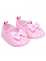 Buciki dziewczęce z kokardką na gumkę różowe