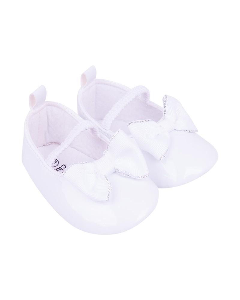 Buciki dziewczęce z kokardką na gumkę białe