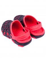 Buty ogrodowe chłopięce czerwono-czarne z autkiem