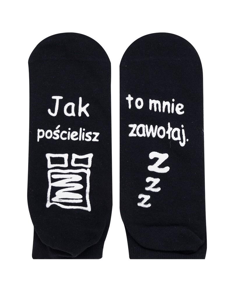 Skarpety męskie czarne Jak pościelisz to mnie zawołaj (z ABS) r. 39-42