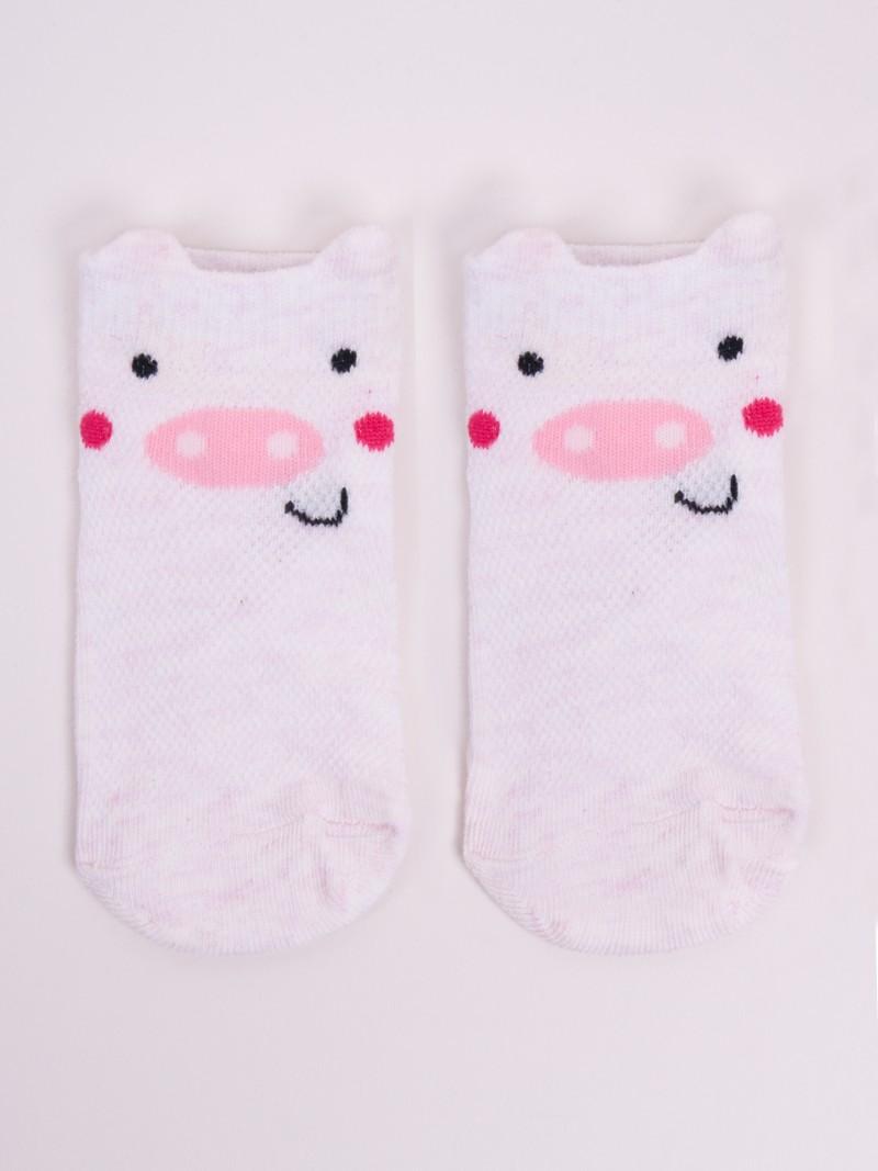 Stopki ażurowe dziewczęce jasno-różowa świnka