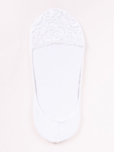 Stopki damskie koronkowe białe różyczki