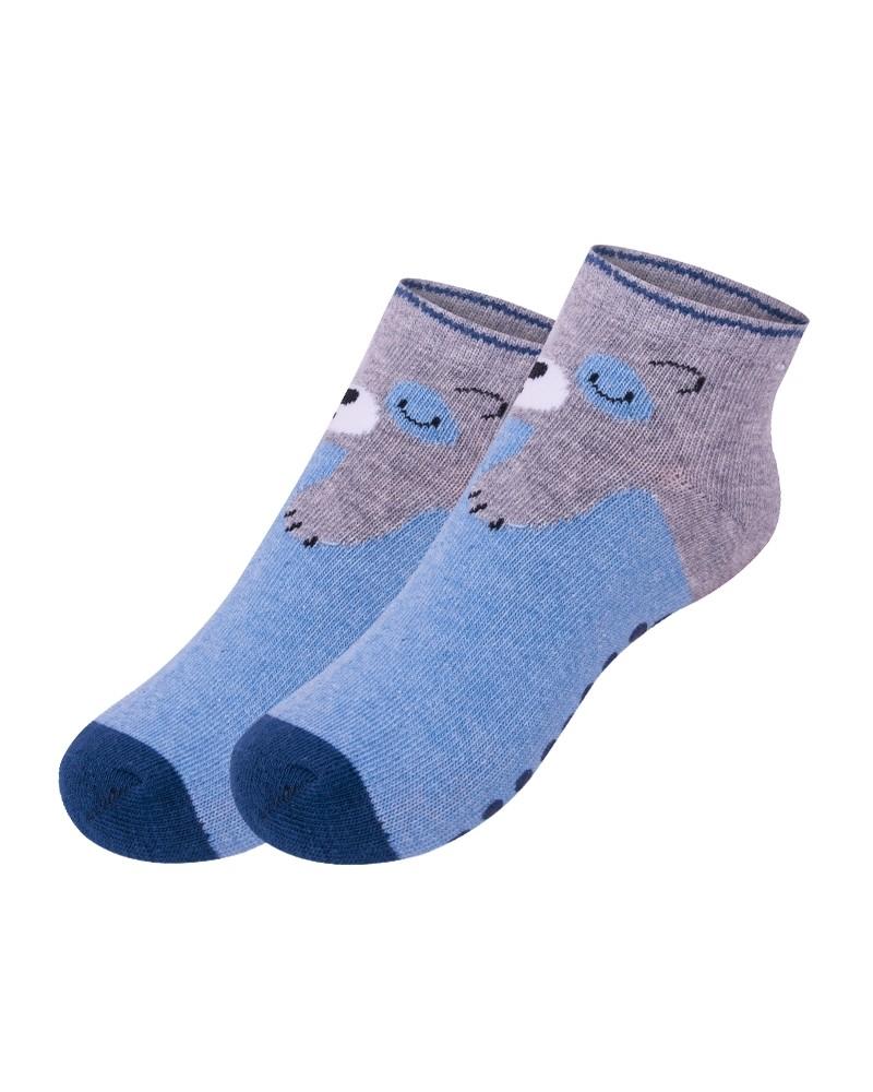 Skarpety stopki antypoślizgowe chłopięce niebiesko szare śpiący niedźwiedź